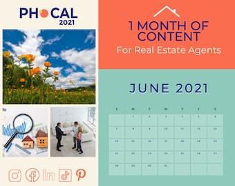 June 2021 Social Media Content Calendar for Real Estate Agents