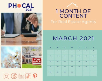 March 2021 Social Media Content Calendar for Real Estate Agents