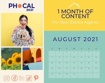 August 2021 Social Media Content Calendar for Real Estate Agents