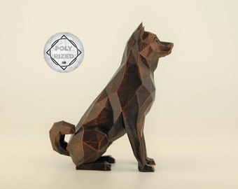 Low Poly Shiba Inu Figurine, Hand Painted Akita Inu Sculpture, Unique Gift for Dog Lovers and Pet Owners, Interior Design Office Decor