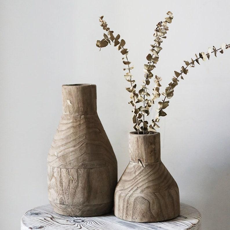 Nordic style wooden vase Vintage minimalist wood vase image 0