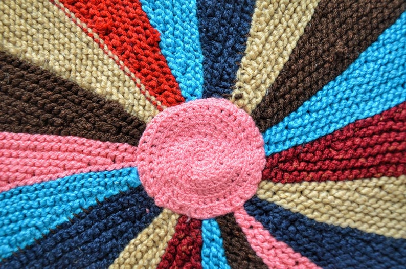 knitted mat stylish boho rug round knitted runner round carpet floor mat Knitted round carpet multicoloured knitted rug