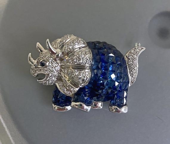 Diamond & Sapphire Pin - Dinosaur