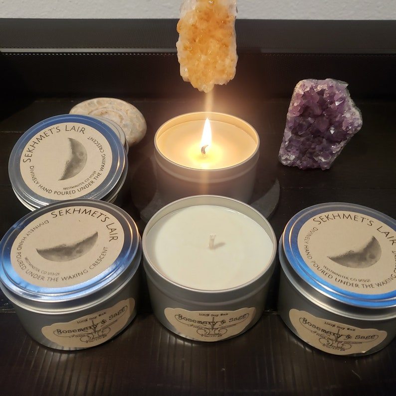 Intention Infused Divinely Hand Poured 100/% Soy Wax Candle Rosemary /& Sage scented candle Waxing Crescent Moon Infused