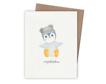 Baby Penguin Congratulations Card