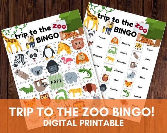 Zoo Bingo  Animal Bingo  Kids Printable Game  Classroom