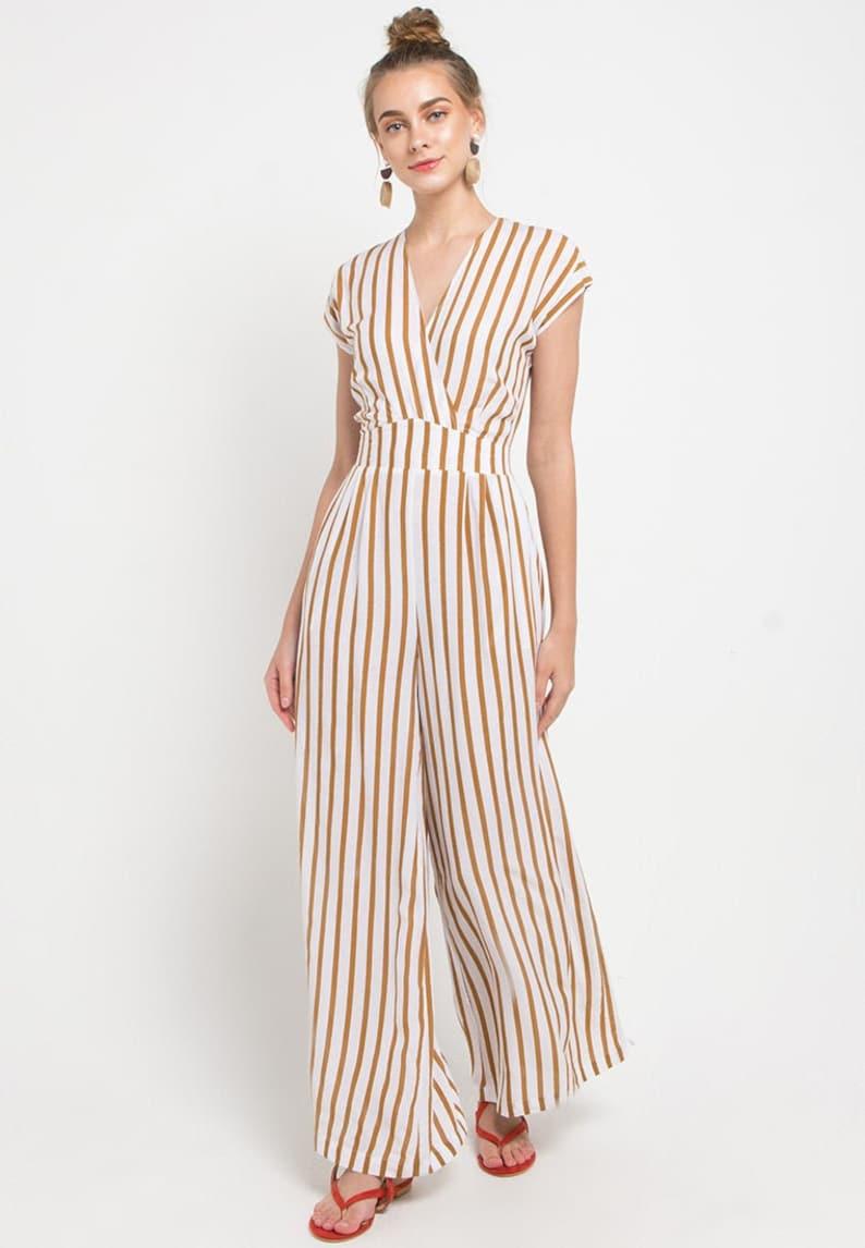 Lauretta Jumpsuit Brown Stripes