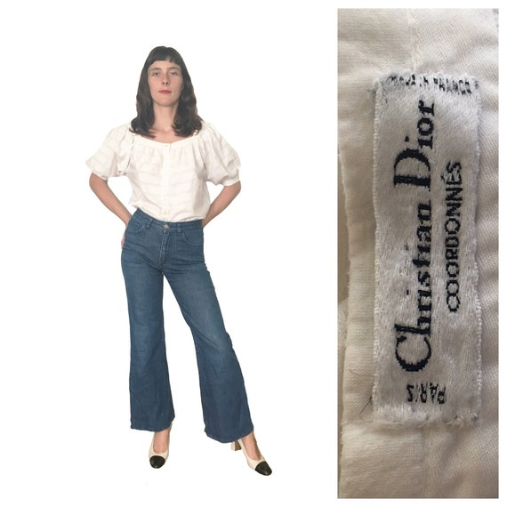 1970s Christian Dior puff sleeve blouse French Des