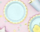 Mint Gold Foiled Paper Plates , Hen Party, Tea Party Plates, Bridal Shower,