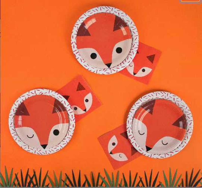 Fox Birthday Party Fox Plates Woodland Plates Fox Baby Shower