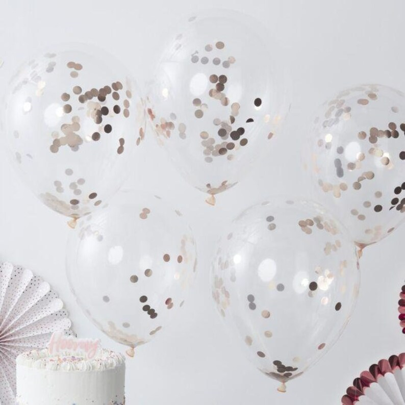 Rose Gold Balloon Bouquet, 5 Rose Gold Confetti Balloons