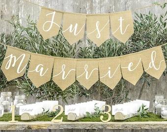 Just Married Hessian Bunting, Rustic Wedding Decoration, Boho Wedding,