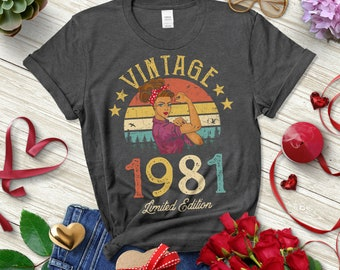 Retro Design 1981 Birthday 40th Birthday Gift For Women Dad Birthday Vintage 1981 Shirt 1981 Birthday Gift,40th Birthday Idea,40s Style