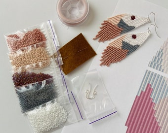Seed bead kit - digital tutorial - Jewelry making KIT - Kit for beading - Best gift for crafter - diy earrings kit - Czech seed beads