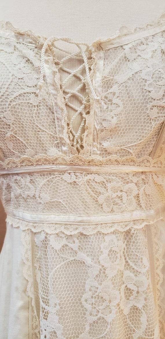 GUNNE SAX Vintage 70's Cream Cotton & Lace Weddin… - image 7