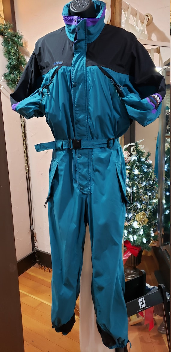 COLUMBIA Vintage 90's Teal Full-Body Snowmobile Sk