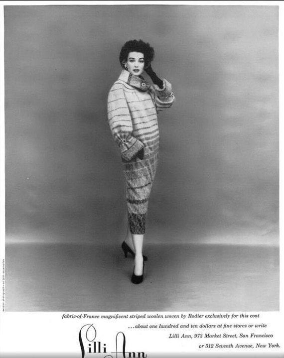 LILLI ANN Vintage Grey Wool Mohair Swing Coat