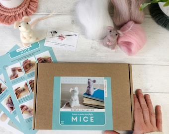 Needle Felting Kit Mouse - craft project for beginners, creative gift idea, two cute mice