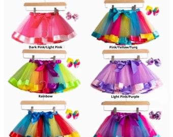 READY to SHIP! 2021 New Tutu Skirt Baby Girl 12M-8Yrs Colorful Mini Pettiskirt Girls Party Dance Rainbow Tulle Skirts Children Clothing