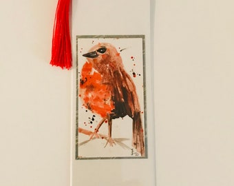 ROBIN - Handpainted bookmark.