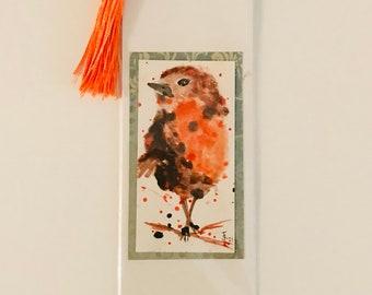 PERKY ROBIN - Handpainted bookmark