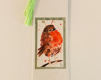 FLUFFY ROBIN - Handpainted bookmark