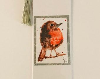 LITTLE ROBIN - Handpainted bookmark