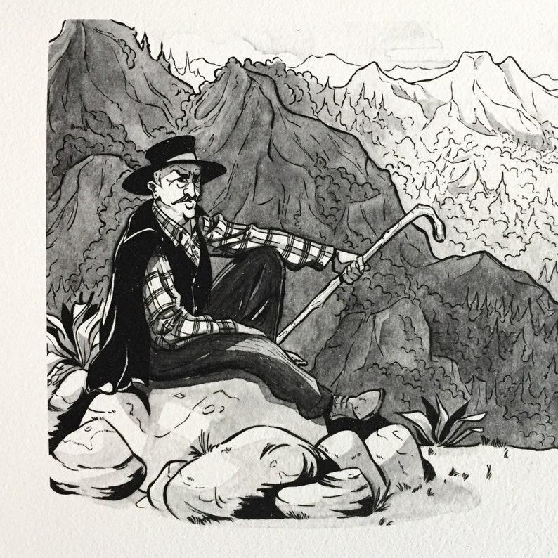 Fine Art Giclee Ethnic Illustration Shepherd in the Mountains Art Print