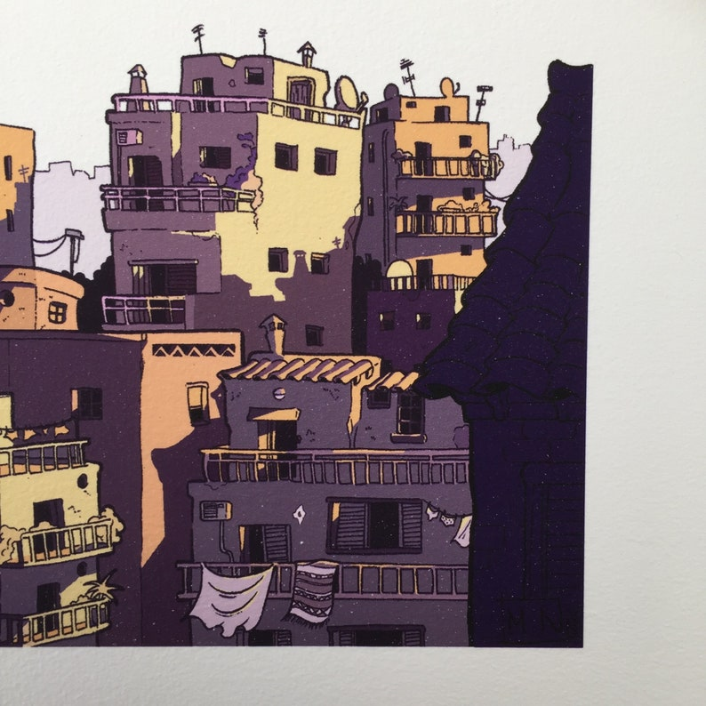 Cityscape Sunrise Art Print Fine Art Giclee Greek culture