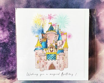 Birthday Card Fireworks Castle / Greetings card / Gift for her / Gift for him / Magical
