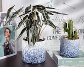 Set of 2 - BLUE WHITE Marble Style Ceramic Planter Pots Planters Plants Basket Vase Indoor Outdoor Garden Boho Bohemian 4.5 5.5 inches