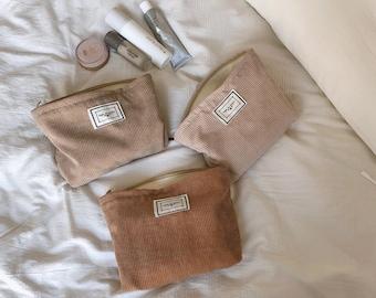 Vintage Makeup Bag, Corduroy Cosmetic Bag, Velvet Zipper Pouch, Travel Pouch, Small Makeup Organizer, Make Up Bag, Toiletry Bag, Eco Bag