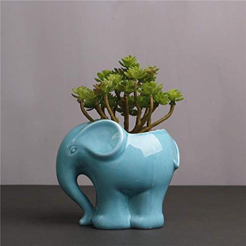 Blue Elephant Ceramic Planter Pots Plants Pot Planters Indoor Outdoor Garden Succulent Fern Flower Vase White Succulent Cactus Cute
