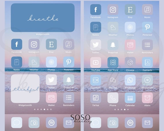 Pastel Blue Purple Pink Aesthetic Iphone Ios 14 App Icons Etsy