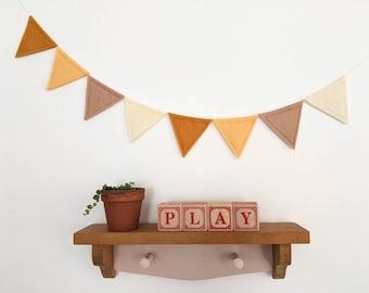 Felt flag bunting banner garland,  EARTH TONES fall decor, boho wall decor for nursery, playroom or children's room, mustard, brown, yellow