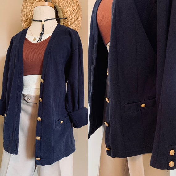 Oversized Nautical Cardigan w/ Gold accent Button