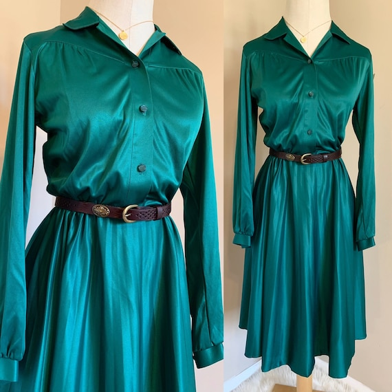 1930 high waist teal dress
