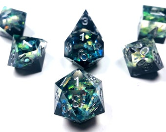 Evocation - Multi-Layered and Dimensional Sharp Edge Dice Set-Black/Green with Iridescent Flakes and Shine-7pc or Exclusive 11pc Set