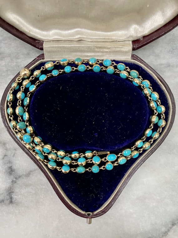 Victorian 18ct Gold And Turquoise Chain