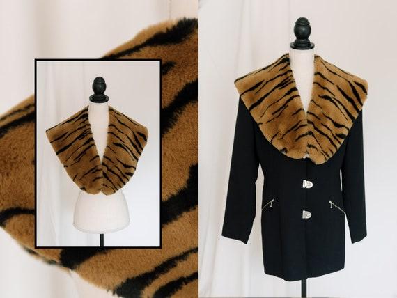 Vintage Statement Faux Fur Animal Print Collar Sca