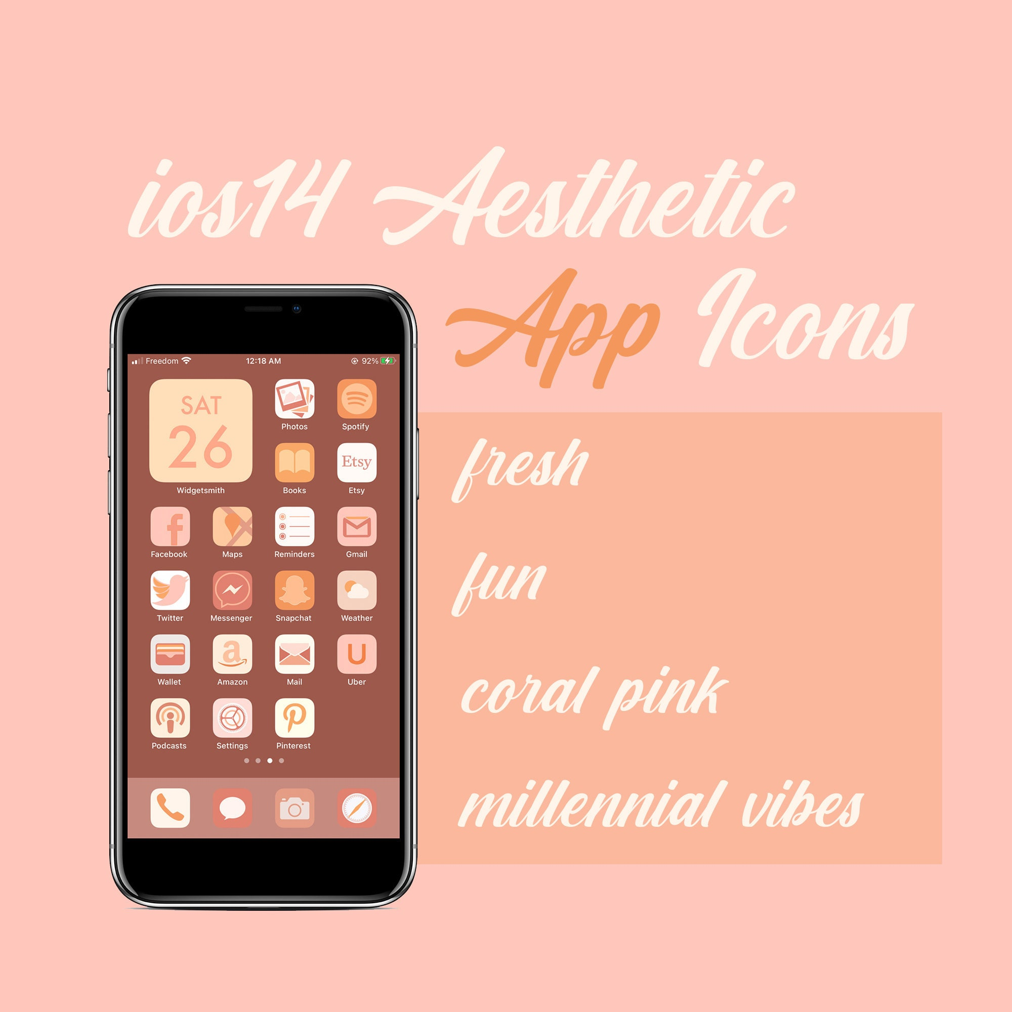 ios 14 aesthetic app icons luxe fresh fun coral pink etsy ios 14 aesthetic app icons luxe fresh fun coral pink millennial unique