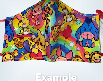 Winnie the Pooh   Characters Face Mask Face Cover, Disney Bound Face Masks, Disney Pals\Two Layers