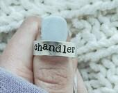 Custom Typewriter Name Ring Silver