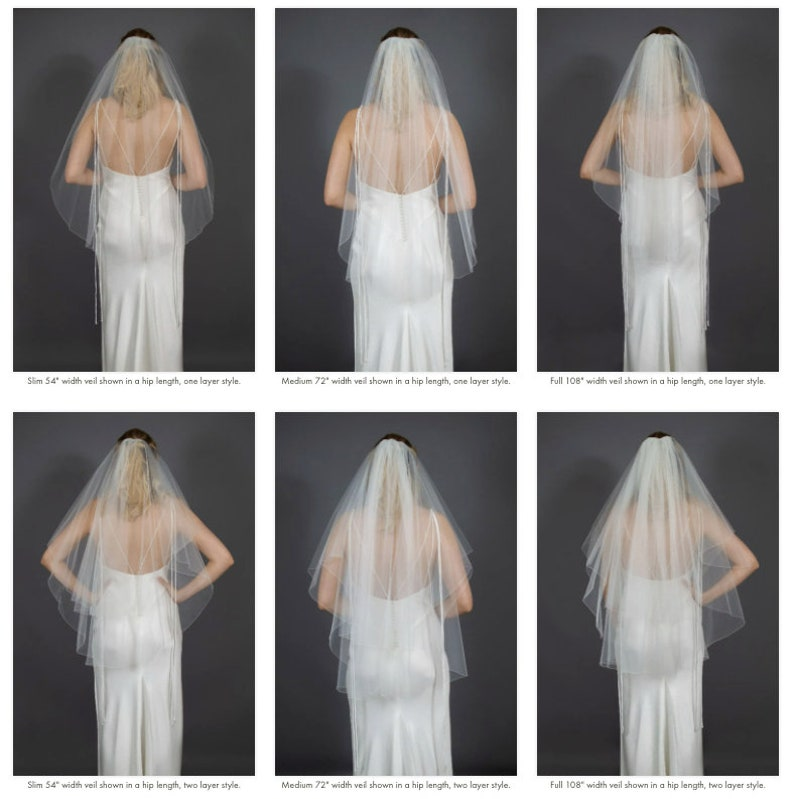 2 tier all lengths and widths many color options Bridal illusion tulle two tier wedding veil customizable