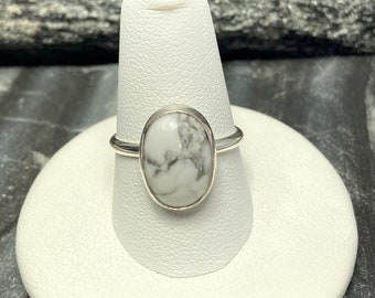 Designer Inspired Gift for her White Buffalo Womens Ring Sterling Silver White Buffalo Rings two Size 7.5  White Buffalo Turquoise Jewelry