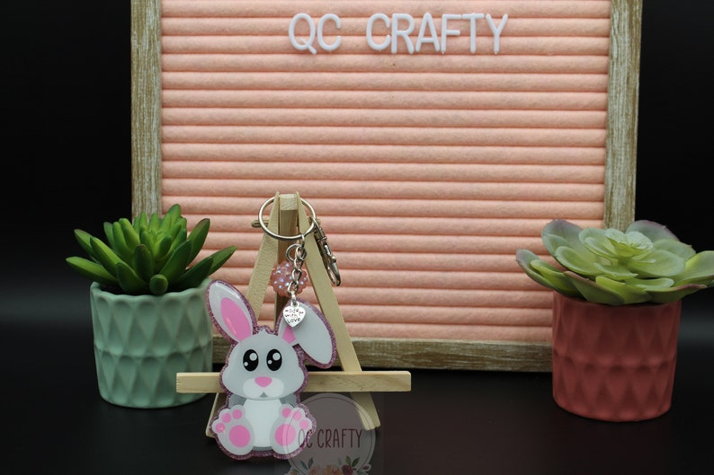 Easter Bunny Sitting Rabbit Keychain Badge Reel