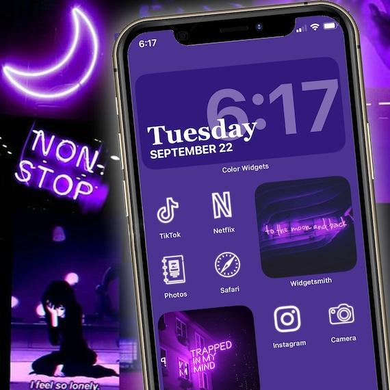 Aesthetic Neon Purple Ios 14 App Icon Bundle Etsy