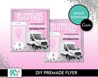 DIY Pink Shipping Flyer - Canva Immediate Access