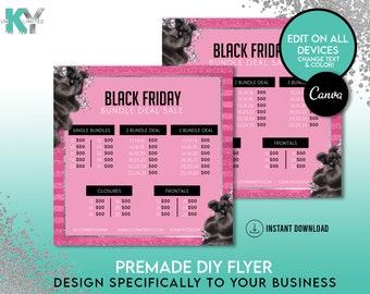 DIY Pink Black Friday Sale Flyer, Wig Flyer, Hair Flyer, Lash Flyer - Canva Immediate Access