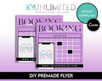 Purple Booking Flyer - Canva Immediate Access